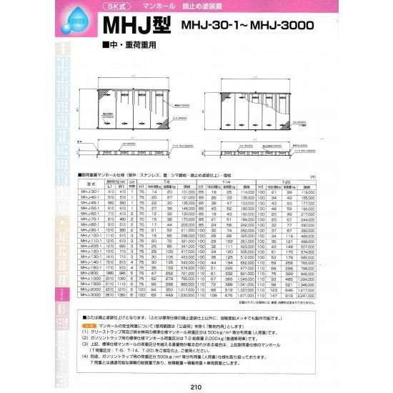 MHJ型 MH-J-2000 耐荷重蓋マンホール(枠:ステンレス / 蓋:シマ鋼板・錆止め塗装) T-6