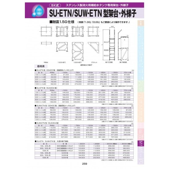 SU-ETN型架台・外梯子(SUS304製)300リットル用 ブラケット用
