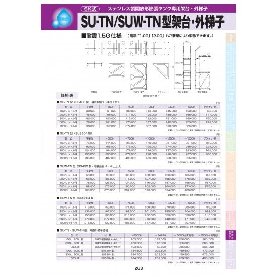 SUW-TN型架台・外梯子(SS400製・溶融亜鉛メッキ仕上げ)1000リットル用 〜1250H