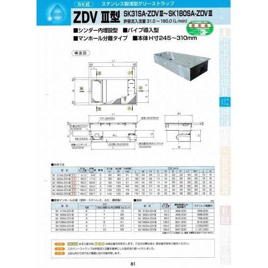 ZDVIII型 SK180SA-ZDVIII 鋼板製錆止め塗装蓋付