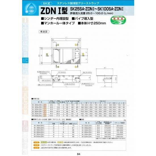 ZDNI型 SK100SA-ZDNI 鋼板製錆止め塗装蓋付