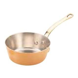 銅極厚 浅型テーパー鍋(真鍮柄) 15cm用(φ150×φ120×H65)