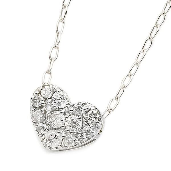 限定版 ダイヤモンド ネックレス K18 ホワイトゴールド 0.15ct ハート ダイヤパヴェネックレス ペンダント, 子供服 なかよし b4831faa