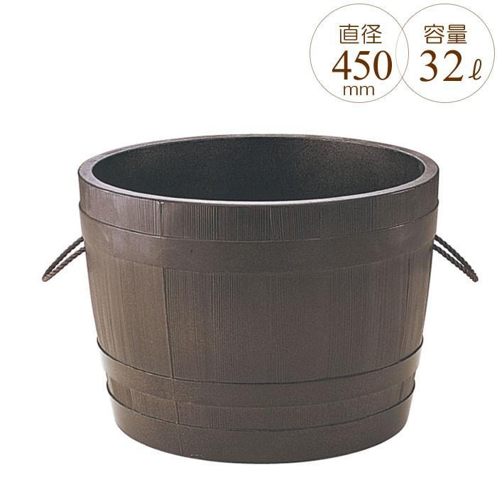 プランター 大型 円形 植木鉢 円柱形 GRCプランター ビヤ樽ポルカ 木目 直径450×H300mm ガーデニング 園芸用品 【代引不可】