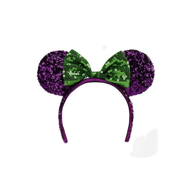 ディズニーパークUS、耳ヘッドバンド ハロウィーンミニマウス耳紫と緑