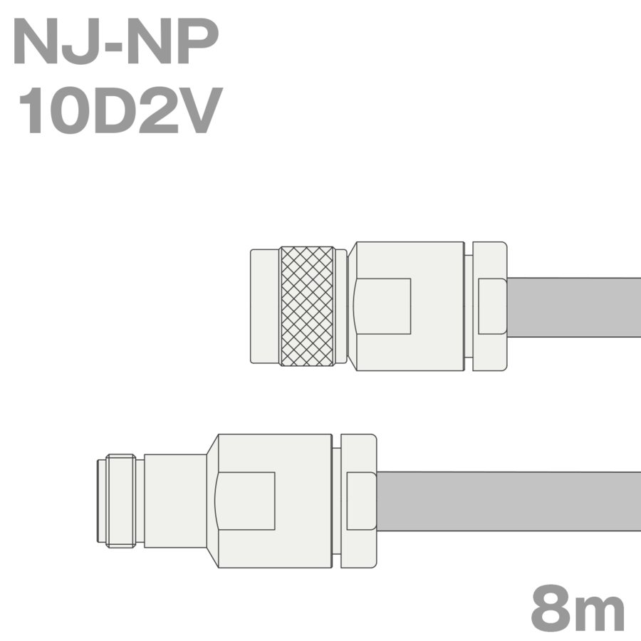 同軸ケーブル10D2V NJ-NP (NP-NJ) 8m (インピーダンス:50Ω) 10D-2V加工製作品TV