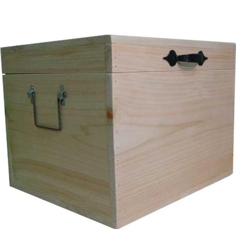 無塗装白木 カントリーボックス(W35×D30×H27cm) ふた付き収納箱 木製 ひのき 受注製作