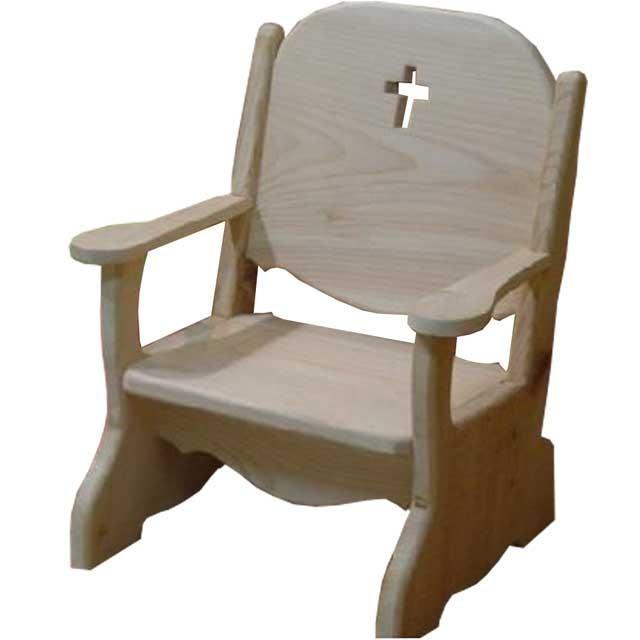 キッズチェア クロスくり抜き 無塗装白木 w34d29h42cm 子供用椅子 木製 ひのき 受注製作