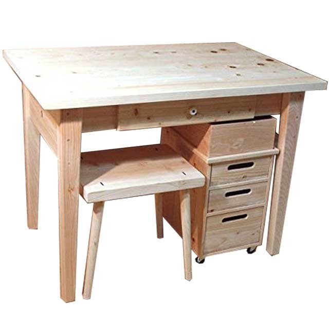 学習机&ワゴン&スツール 3点セット 無塗装白木 無塗装白木 w98d62h71cm 北欧 木製 ひのき 受注製作