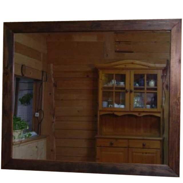 大型ミラー 鏡 鏡 アンティークブラウン w100d2h80cm 横型 木製 ヒノキ 受注製作
