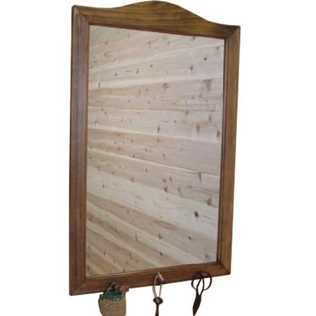 フックつきミラー 鏡 鏡 アンティークブラウン w45d6h70cm 壁掛けミラー 木製 ひのき 受注製作