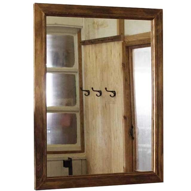 ウッドフレームミラー 鏡 アンティークブラウン w50d2h65cm 吊り下げ金具付 木製 ひのき 受注製作