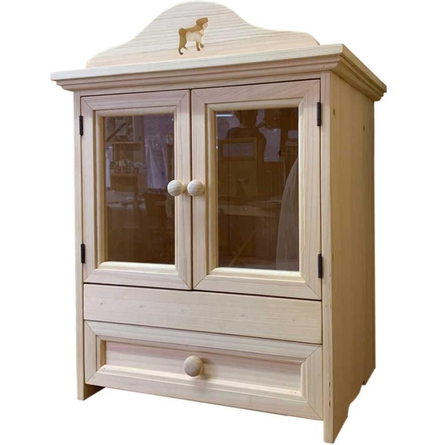 ペット用メモリアルハウス パグくり抜きボード 透明ガラス スライド棚 木製取っ手 引き出し 40x31x45cm 無塗装白木 木製 ひのき ハンドメイド 受注製作