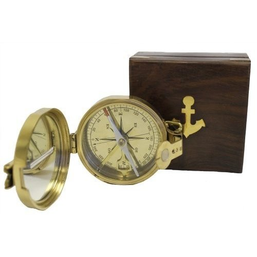 Brass Lensatic Desktop Compass w/Wooden Box: Military Collection by