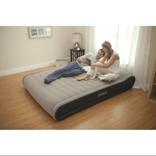 Intex Deluxe Mid-Rise Pillow Rest Airbed Kit with Handheld AC Pump, Queen,