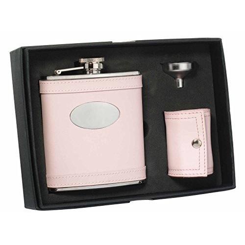 Visol VSET30 Onida ピンク Leather 6oz Deluxe Flask Gift Set