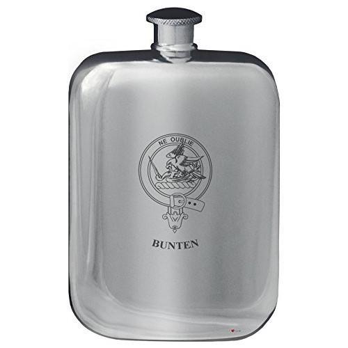 Bunten Family Crest Design Pocket Hip Flask 6oz Rounded Polished Pewter