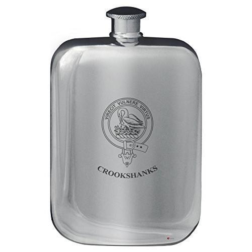 Crookshanks Family Crest Design Pocket Hip Flask 6oz Rounded Polished