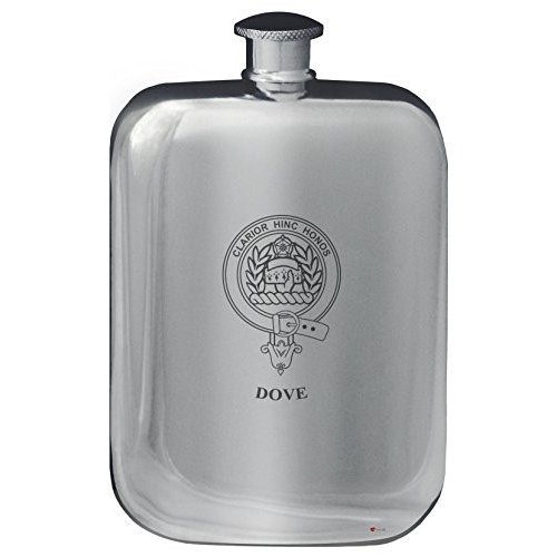 Dove Family Crest Design Pocket Hip Flask 6oz Rounded Polished Pewter