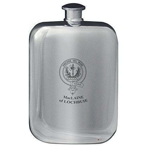 MacLaine of Lochbuie Family Crest Design Pocket Hip Flask 6oz Rounded