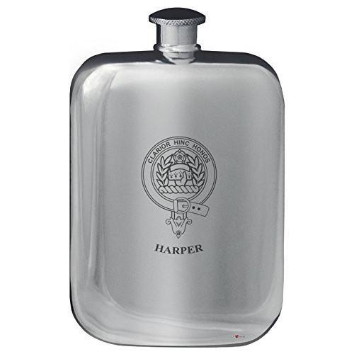 Harper Family Crest Design Pocket Hip Flask 6oz Rounded Polished Pewter
