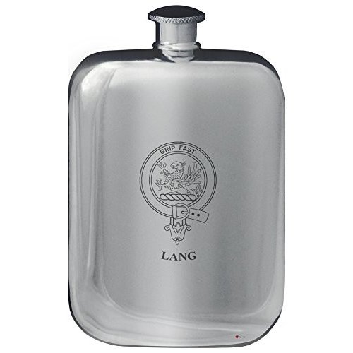 Lang Family Crest Design Pocket Hip Flask 6oz Rounded Polished Pewter