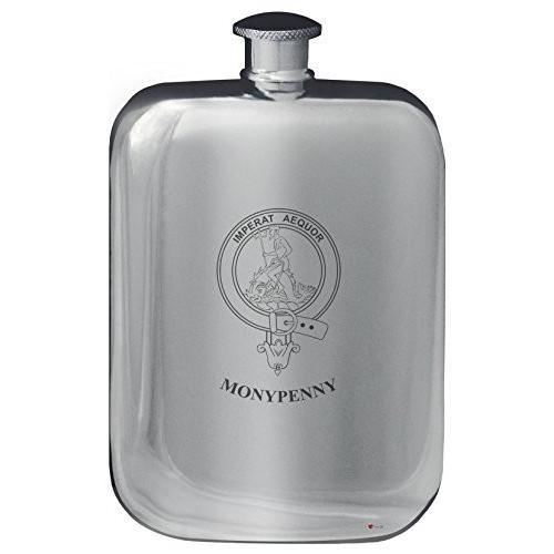 Monypenny Family Crest Design Pocket Hip Flask 6oz Rounded Polished Pewter