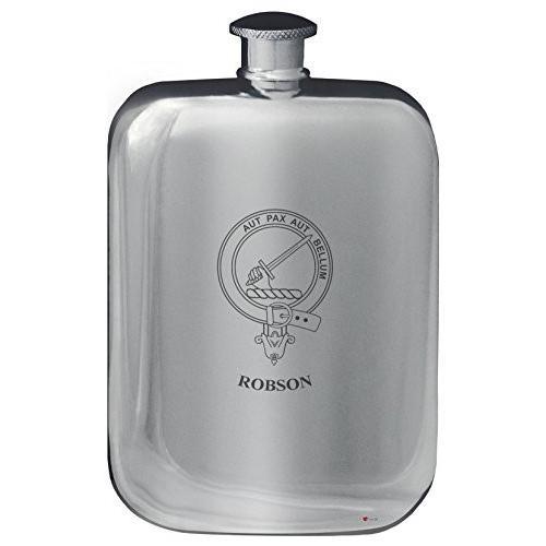 Robson Family Crest Design Pocket Hip Flask 6oz Rounded Polished Pewter