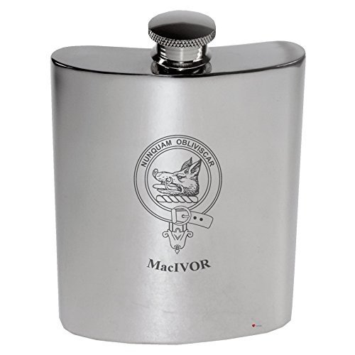 MacIvor Family Crest 6oz Polished Pewter Kidney Flask