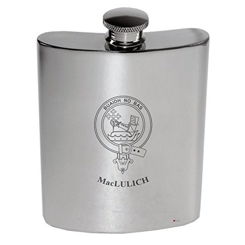 MacLulich Family Crest 6oz Polished Pewter Kidney Flask