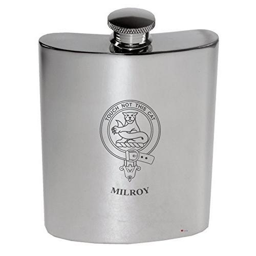 Milroy Family Crest 6oz Polished Pewter Kidney Flask