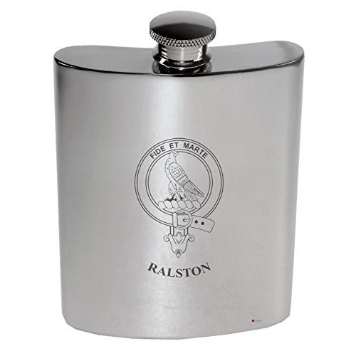 Ralston Family Crest 6oz Polished Pewter Kidney Flask
