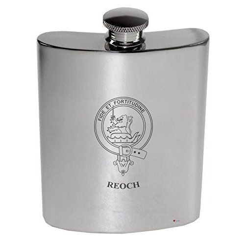 Reoch Family Crest 6oz Polished Pewter Kidney Flask