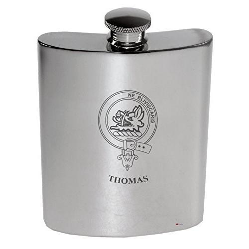 Thomas Family Crest 6oz Polished Pewter Kidney Flask