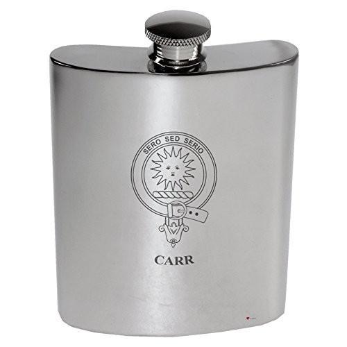 Carr Family Crest 6oz Polished Pewter Kidney Flask