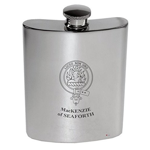 MacKenzie of Seaforth Family Crest 6oz Polished Pewter Kidney Flask