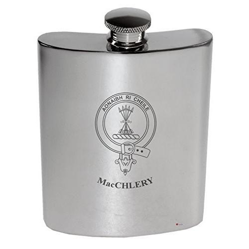 MacChlery Family Crest 6oz Polished Pewter Kidney Flask