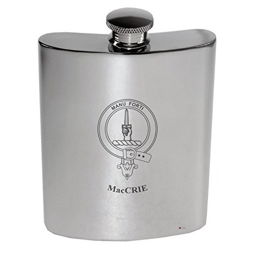 MacCrie Family Crest 6oz Polished Pewter Kidney Flask