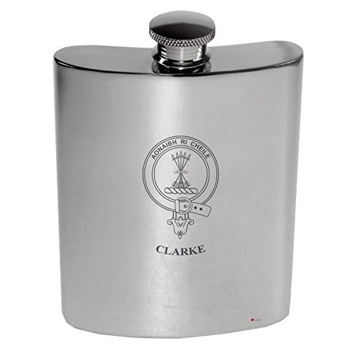 Clarke Family Crest 6oz Polished Pewter Kidney Flask