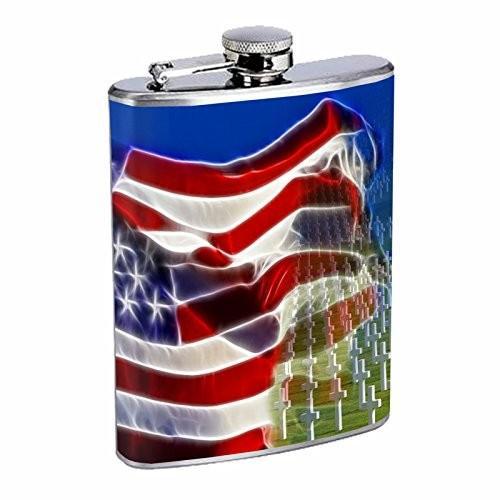 Memorial Dayヒップフラスコd1*8オンスステンレススチールFlag American Veterans Hero God Bless