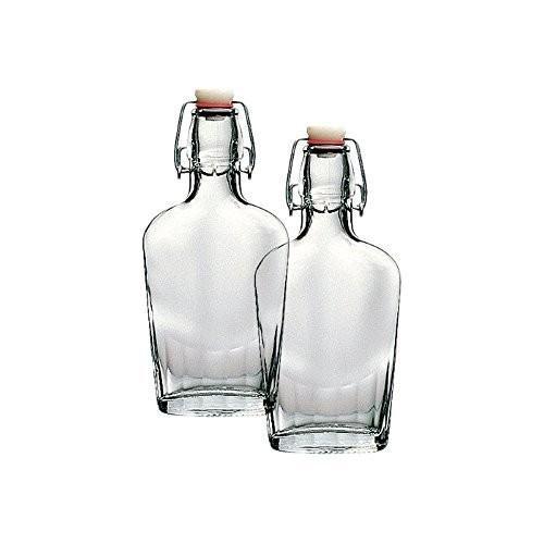 Bormioli Rocco Fiaschetta Glass 8.5 Ounce Pocket Flask, Set of 2 by