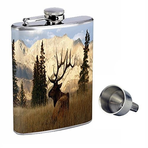 Elk Perfection inスタイル8オンスステンレススチールWhiskey Flask with Free Funnel d-002