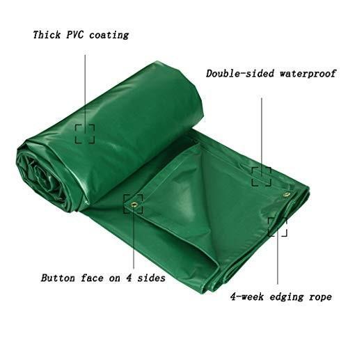 HJBH高品質PVCターポリンキャノピーオーニングレインカバートラックターポリンシェード屋外防水布厚くて丈夫(グリーン)マルチサイズオプション