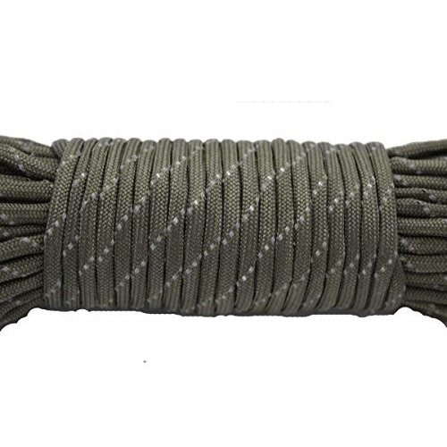 (Army Green) - 30m Reflective Paracord 7 Core 550 Parachute Cord