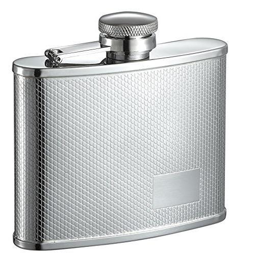 Personalized Visol Sparkleダイヤモンドパターンステンレススチール4オンスフラスコwith Free Engraving