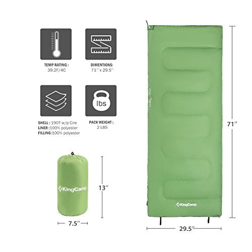 KingCamp エンベロープ型寝袋 大人用 3シーズン用 暖かく軽量 ポータブル 高耐水性 快適 圧縮袋付 冷涼な季節用 バックパッキング