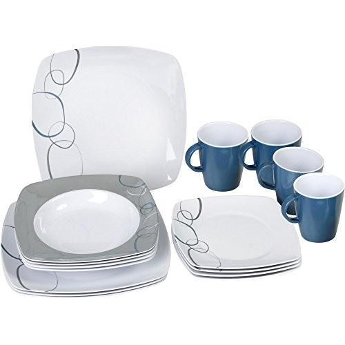 (ブルンナー) Brunner Square メラミン 食器16点セット 皿 プレート マグカップ ディナーウェア (ワンサイズ) (カスケード)