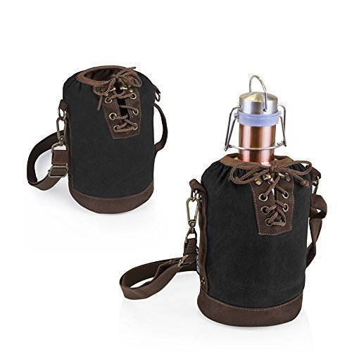 LEGACY - a Picnic Time brand Stainless Steel Growler with Black Canvas