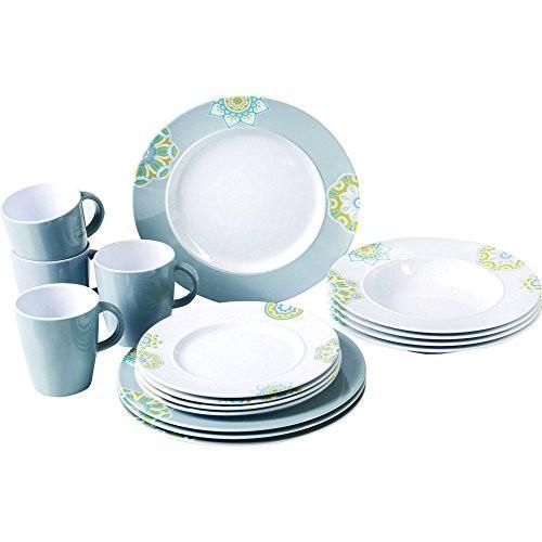 (サンシャ) Sandhya 柄入り メラミン プラスチック 食器 16点セット 皿 プレート マグカップ ディナーウェア (ワンサイズ)