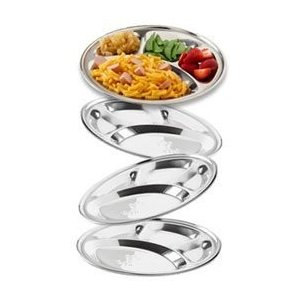 Buycrafty Stainless Steel Divided Plate: Set of 6 Mess Trays Great for